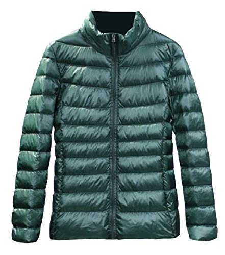 Up Jacket Women's Light Long Weight Sleeve Pocket Green XINHEO Stand Blackish Fit Collar Zip Down RqH07Fw7
