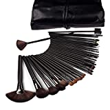 Lowpricenice 32 Pcs Black Rod Makeup Brush Cosmetic Set Kit with Case