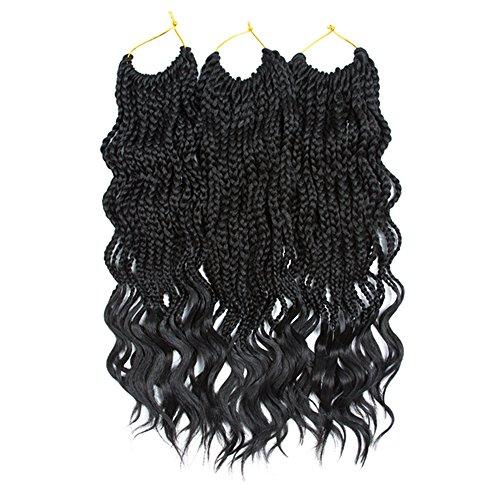 Goddess Wand - VRHOT 6Packs 18'' Wavy Box Braids Crochet Hair Extensions with Free Ends 3S Small Box Braids Goddess Synthetic Kanekalon Braiding Hair Extensions Twist Crochet Dreadlocks 1B 18 inch (18 inch, 1B)