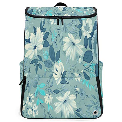(Laptop Backpack Blue Floral Picture Duffle Backpack for Men Large Picnic Daypack)