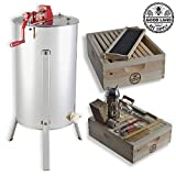 Goodland Bee Supply 2 Bee Hive Frame Honey Extractor and 1 Complete Super Box with Pierco Plastic Foundations and Wood Frames & Beekepers Tool Kit - GL-E2-1S-TK1