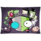 Custom Soft-home Decoration Cartoons Cute Adorable Invader Zim Gir Rectangle Pillow Case 20x30 Inchs (one side)
