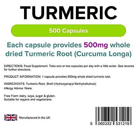 Lindens Cúrcuma 500 mg en cápsulas | 500 Paquete | Fuente natural de curcumina y popular suplemento alimenticio en una cápsula sencilla, fácil de tragar y ...
