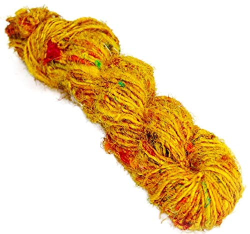 Paradise Fibers Recycled Sari Silk Yarn (Yellow) - 1 Skein, 50 Yards, 100 Grams