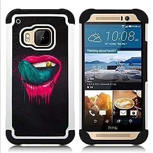 """Pulsar ( Labios de color rosa Sexy lengua lamiendo los dientes de oro"""" ) HTC One M9 /M9s / One Hima híbrida Heavy Duty Impact pesado deber de protección a los choques caso Carcasa de parachoques [Ne"""