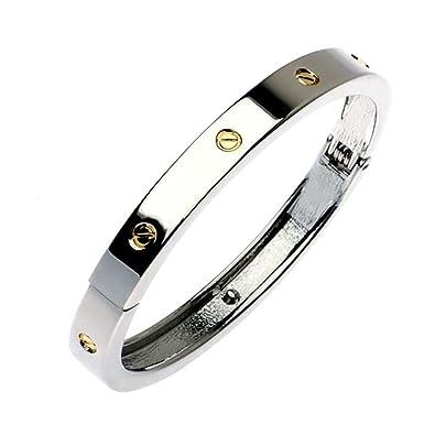 a9bf8623f83 Stylish Silver Love bracelet with Gold screw detail (M2)  Amazon.co.uk   Jewellery