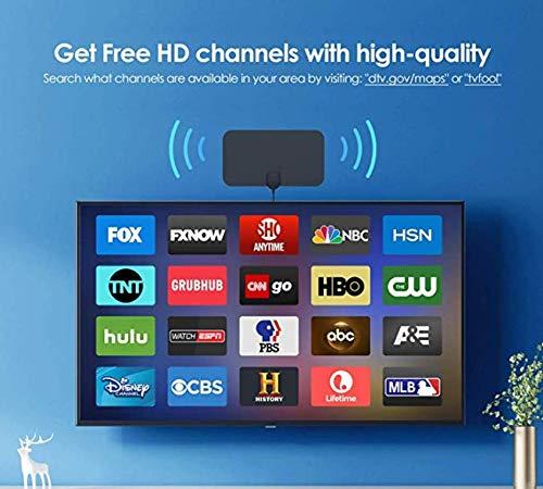 Antenne TV Int/érieur,Soutenir Smart TV HD 4K 1080P VHF UHF FM
