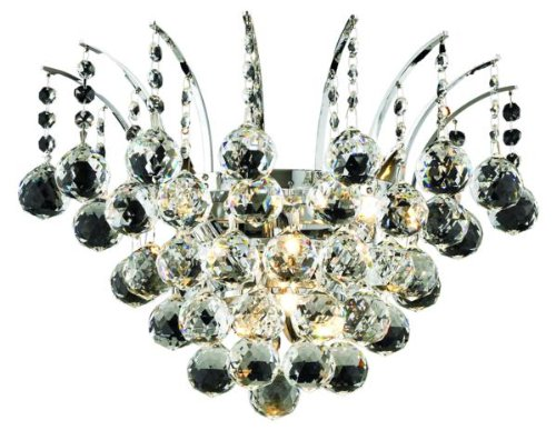 Elegant Lighting 8031W16C/RC Victoria 13-Inch High 3-Light Wall Sconce, Chrome Finish with Crystal (Clear) Royal Cut RC Crystal (Three Light 13 High)