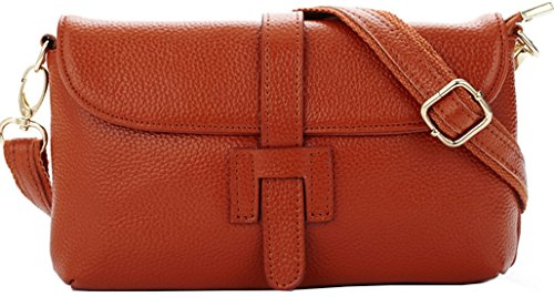 Hereby Kuer Women's Leather Shoulder Bag Cross Body Mini Handbag Messenger satchel Purse (Brown) ()