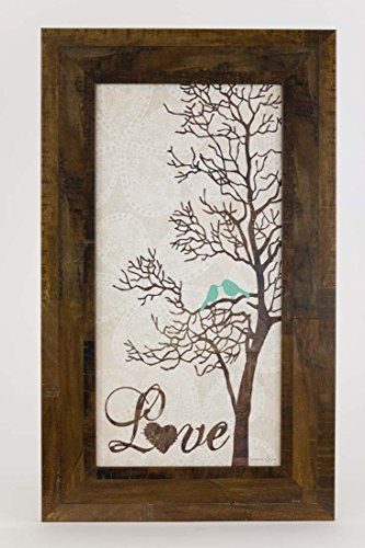 Summer Snow Love Tree Restoration Restored Bird Tree Blue Framed Art Decor 10x16