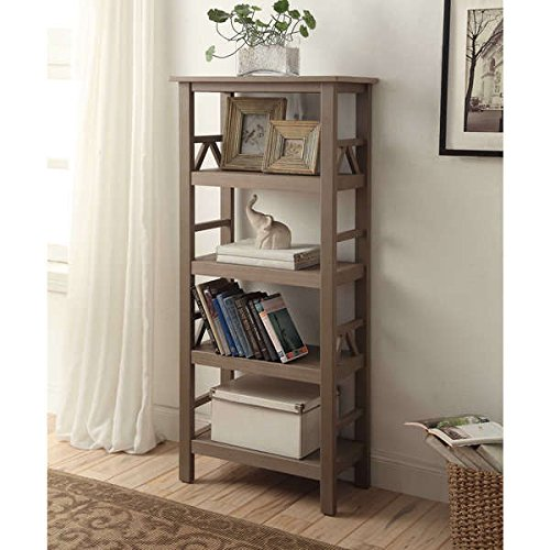 Bookcase / Bookshelves, Modern Pine Wood, Elaine Bookcase OSLN1539 in Rustic Grey Finish, Assembly Required