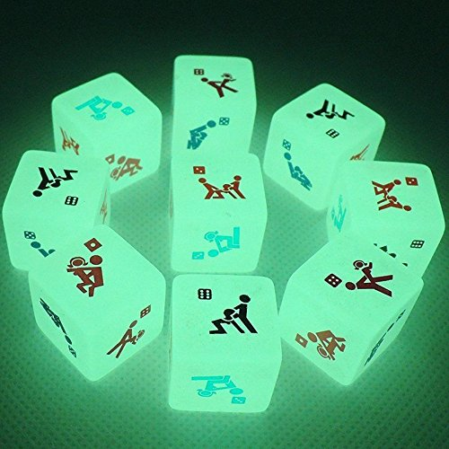 Sex Funny Noctilucent Adult Glow Dice Game Love Gambling Romance Erotic Crap Toy (Carnival Man With Direction Sign)