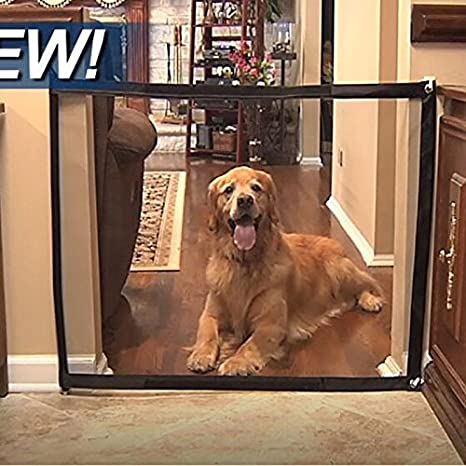 URMAGIC Magic Gate for Dogs,83x28inch Safety Magic Enclosure Net,Portable Folding Pet Guard Mesh Safe Gate Lsolated Gauze,Baby Gate with Zipper Design and Sticky Hook for Stairways Doorways Hallways