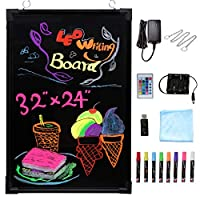 """Voilamart LED Message Writing Board, 32"""" x 24"""" 24"""" x 16"""" Flashing Illuminated Erasable Message Memo Notice Menu Sign Board with Remote Control, 8 Colors Fluorescent Pens"""
