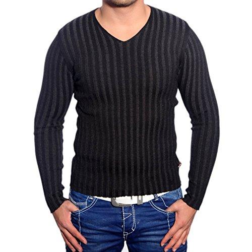 R-Neal RN-3174 Herren Pullover V-Neck Pulli Sweatshirt Jacke Hoodie T-Shirt Neu, Größe:L, Farbe:Schwarz