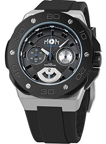 Men's Italian Designed M.O.M.Winner Chrono Stainless Steel with Black Dial and Black Silicone Rubber Quartz Watch PM7110-11