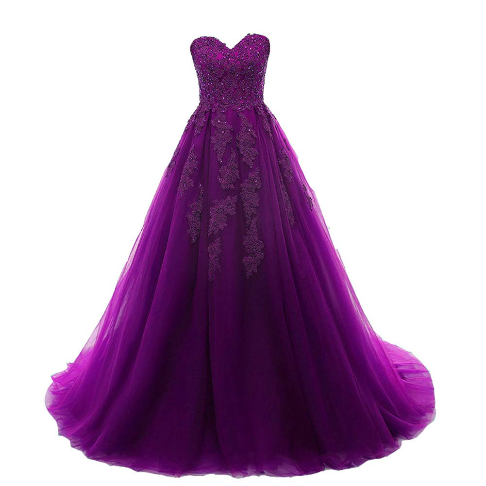 B Purple Kivary Women Beaded Lace Appliques Long Formal Ball Gowns Prom Evening Dresses