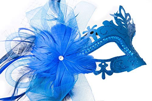 Pretty, Comfortable, Luxury Blue Venetian Masquerade Mask with Feathers for Women. Stays on All Night. Super Fancy with mesh, Rhinestones. ()