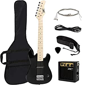 US Stock Electric Guitar Kids 30 Black Guitar With Amp + Case + Strap and More New