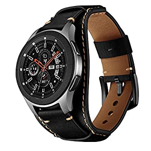 Balerion Cuff Genuine Leather Watch Band,Compatible with Samsung Galaxy Watch 46mm,Gear S3,Fossil Q Explorist/Q Marshal Gen 2 and Other Standard 22mm Band Width Watch