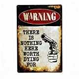 Vintage Metal Warning Sign:Trespassers Will Be Shot. Survivors Will Be Shot Again modern wall art--word-427