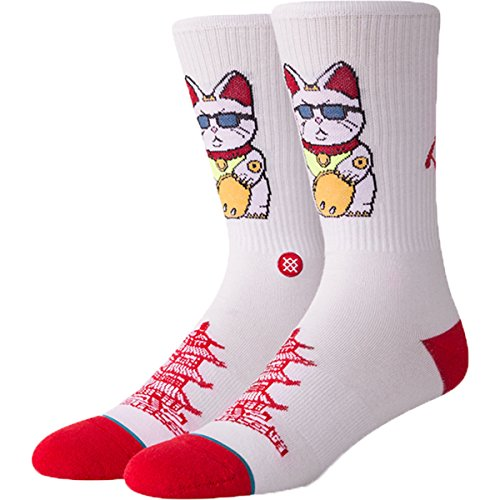 Stance Mens Foundation Thank You Enjoy Socks (White, Large) by Stance (Image #1)