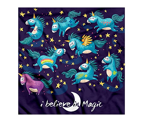 Unicorn Bandana by Lunarable, Original Divine Winged Unicorns with Stars Horned Horse Miracle Abstract Design, Printed Unisex Bandana Head and Neck Tie Scarf Headband, 22 X 22 Inches, Teal - Bandana Adult