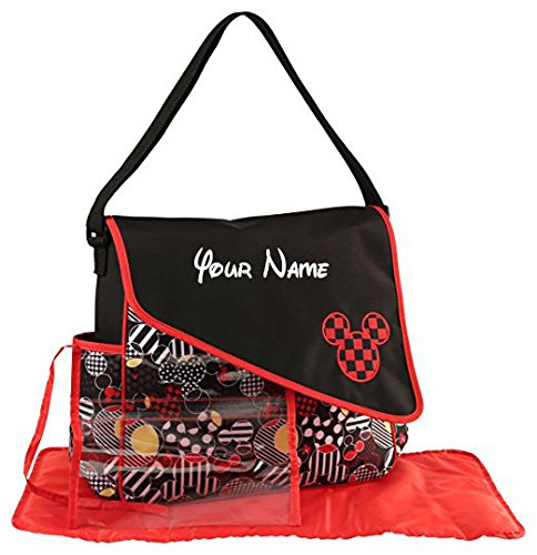 Personalized Disney Mickey Mouse Mickey Toss Heads Print Duffel Diaper Bag with Flap- 17 Inches ()
