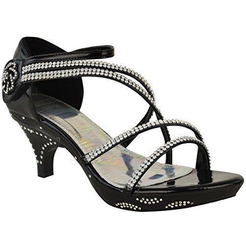 Sandales/escarpins à petit talon - brides avec brillants/strass - mariage/soirée Noir verni / strass / élégant WYKYe1DEo