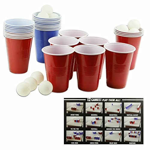 Splash Cup Sport Pong Game - 18 Balls, 30 Cups for 12 Different (Halloween Games College Party)