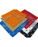 6 Color Pack Double Sided Print Paisley Bandana Scarf, Head Wrap 009