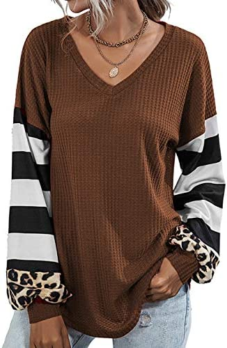 Youdiao Womens V Neck Tops Long Sleeve Shirts Waffle Knit Blouse Casual Loose Oversized Pullover Sweatshirt