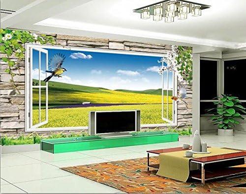 Weaeo 3Dの壁紙カスタム壁画不織の3D部屋の壁紙3Dの花と春のテレビの壁の壁画3D壁の壁画の壁紙-280X200Cm