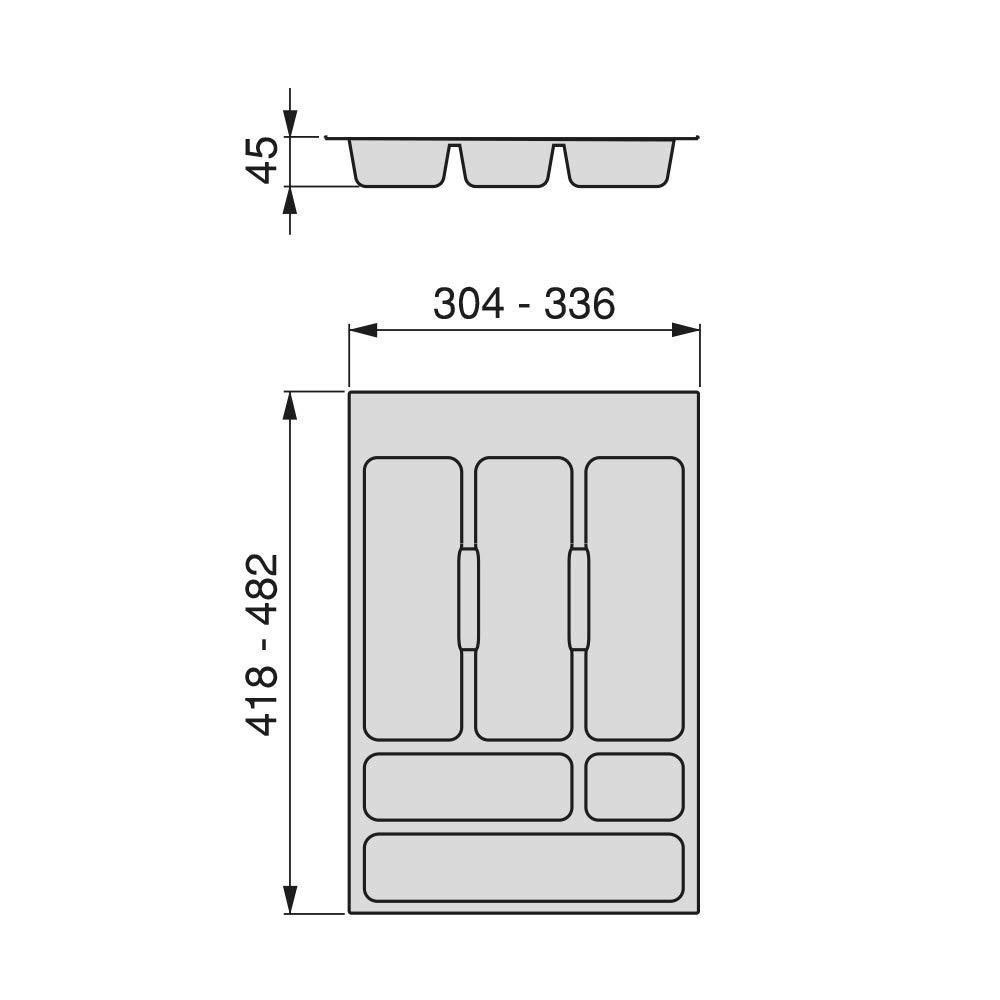 Bandeja para Cubiertos caj/ón Ancho m/ódulo 40cm EMUCA Cubertero Recortable para caj/ón