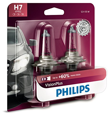 Philips H7 VisionPlus Upgrade Headlight Bulb with up to 60% More Vision, 2 Pack (Headlight White Bulbs Plus)