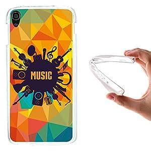 WoowCase Funda Alcatel OneTouch Idol 3 5.5, [Alcatel OneTouch Idol 3 5.5 ] Funda Silicona Gel Flexible Instrumentos Musicales, Carcasa Case TPU Silicona - Transparente