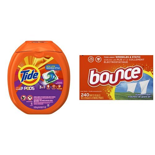 Procter Gamble Laundry Detergent - Tide PODS Spring Meadow Scent HE Turbo Laundry Detergent Pacs, 81 count & Bounce Fabric Softener Sheets, Outdoor Fresh, 240 Count bundle