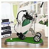 Mini desktop golf bag pen holder with lawn base and golf pens 6-piece set of golf souvenir Tour souvenir novelty gift (green and white)