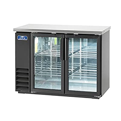 Arctic Air ABB48G, Back Bar Refrigerator, Glass Doors, two-section, Interior LED Lighting, NSF Certified