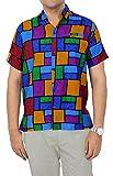 Hawaiian Shirt Men Short Sleeve Aloha Beach partyFront Pocket 1867 Red_Violet L