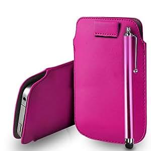 Sony Xperia L Cuero para rosa fuerte tirón Tab caso de la cubierta Pouch + Touch Pen Stylus + paño de pulido