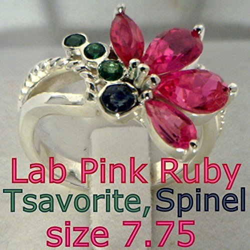 [Pink Ruby, Blue Spinel, Green Tsavorite Garnets Handmade 925 Ladies Ring sz 7.75] (Tsavorite Green Garnet)