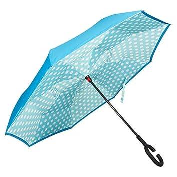 Golden Lemur Paraguas Invertido. Paraguas Originales Mujer y Hombre de Colores. Grande, para Coche Antiviento. Doble Capa, Reversible, Abre al Revés, ...