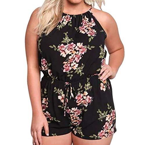 Women Summer Beach Short Jumpsuits BCDshop Floral Printed Sleeveless Plus Size Rompers (Black,XXXXL)