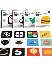 Hahaland 4 in 1 Flash Cards Baby Visual Stimulation Cards 80 Pcs, Learning Educational Black and White Alphabet Shapes Color Cards, Baby Boy Girl Toys 0-3-6-12 Months, Baby Boy Girl Shower Gifts for 0 Months+