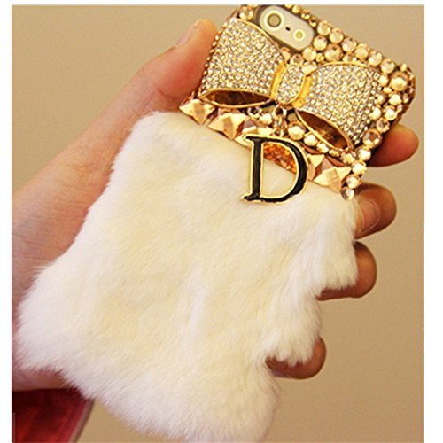 - KAKA(TM Phone Case for iPod, iPod Touch 6 4D Rhinestone Crystal Clear Back Cover with Bling Golden Bowknot Decoration Warm Softy Fur (White)