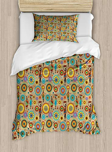 - Ambesonne Medallion Duvet Cover Set Twin Size, African Woman Silhouettes with Colorful Dresses and Flower Blossom Pattern Orient, Decorative 2 Piece Bedding Set with 1 Pillow Sham, Multicolor