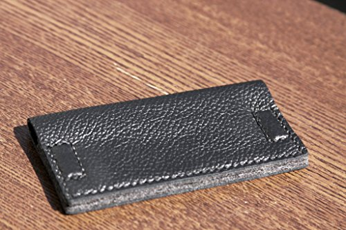 Vikinghelte Leather Felt Card Holder Handmade Black Minimalist Case Slim Wallet ID Holder Bifold Magnitic Closure