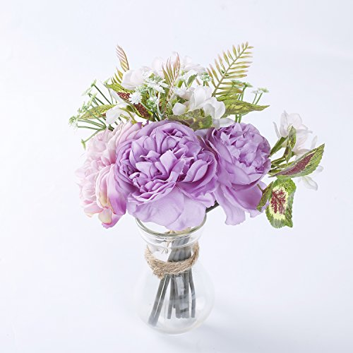 """Marlles Real Touch Artificial Bridal Peony Bouquet in Lavender and Pink, Faux Rose Flowers Wedding Bouquets for Bridesmaids Party Home Decor - 11.5"""" tall (Lavender Bouquet Rose)"""