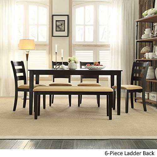 - Inspire Q Wilmington Black Dining Set by Classic Black - Bench with 4 Ladder Back Chairs 6 Piece 6-Piece Sets